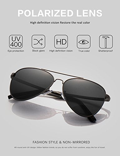8545ca04c4c LUENX Men Women Aviator Sunglasses Polarized Non-Mirror Grey Lens Gun Metal  Frame with Acces