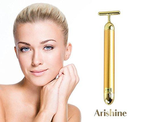 Arishine 24k golden pulse Beauty Bar Facial Massager , Instant Face Lift, Anti-Wrinkles,Magnifies Vitamin C Serum ,Skin Tightening, Face Firming, Eliminate Dark Circles, and a good Anti-Aging Device