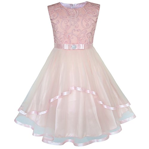 6204e1512c7 KP27 Flower Girls Dress Blush Belted Wedding Party Bridesmaid Size 12