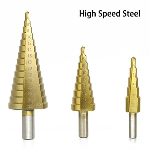3 PCS HSS Titanium Coated Cone Step Drill Bit Set Metal Hole Cutter Power Tools kit, Metric 4-12/20/32mm