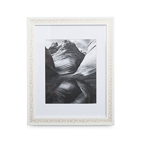 11x14 Picture Frame Ornate White - Gold Matted to 8x10, Frames by ...