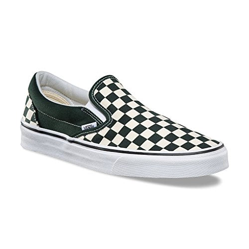 Vans Classic Slip On Checkerboard Unisex Shoes Green/White Men/Women Sneakers (8.0 men/ 9.5 women)