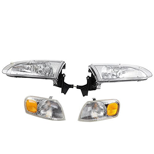 2pc Front Left Right Car Headlights Headlamps 2pc Corner Parking Lights Kit Housing Replacement For 1998 1999 2000 Toyota Corolla Ce Le Ve Sedan