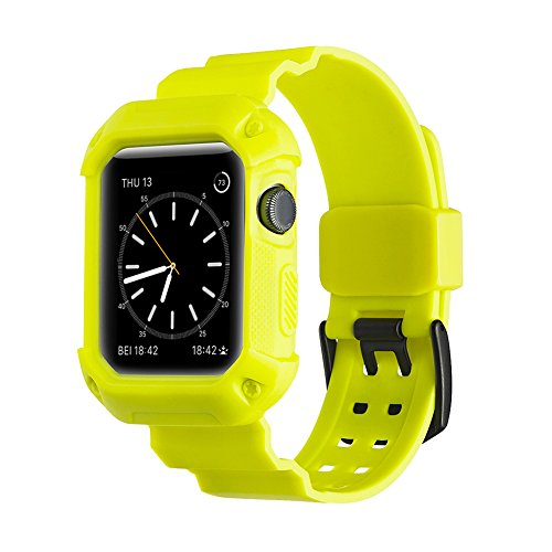sale retailer 7bc82 54bbf CHEEDAY Soft Silicone Apple Watch Band Shockproof Protective Strap with  Case Cover,TPU Rubber iWatch Strap for Apple Watch Series 3 / 2 / 1,Sport  ...