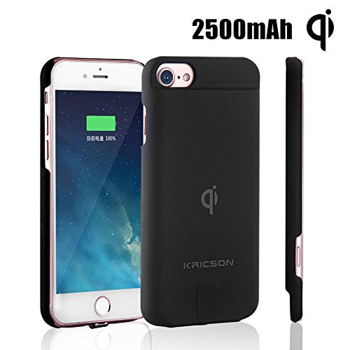QI Wireless Charger Case iPhone 8 Extended 2500mah Battery Cover Cases 7 6s 6 Apple Rechargeable Protective External Backup Battery in Car Wireless Charger Case Ultra Slim Upgrade Type Black