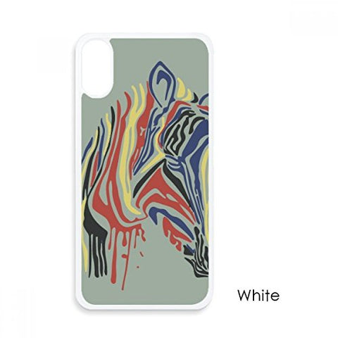 Graffiti Single Simple Colourful Zebra Animal For iPhone X Cases White Phonecase Apple Cover Case Gift