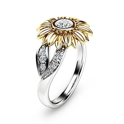 Women's Cubic Zirconia Engagement Rings Sunflower CZ Band Women Fashion Jewelry Size 9 White Gold