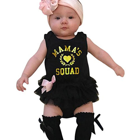 Newborn Infant Baby Girl Romper Jumpsuit Dress Cuekondy Summer Letter Print Bowknot Tutu Tulle Playsuit Outfits Clothes (Black, 12M)