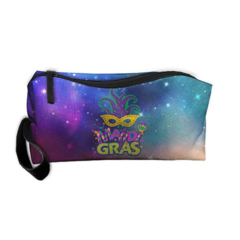 Mardi Gras Mask Party Multi-functional Cosmetic Makeup Bag Zipper Closure Bags Toiletries Organizer Bag