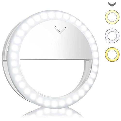 Avanz Selfie Ring Light, Rechargeable Selfie Lighting with 40 LED, White & Warm White, 4-Level Adjustable Brightness, On-Camera Video Light Night Light for iPhone, Samsung, Smartphone