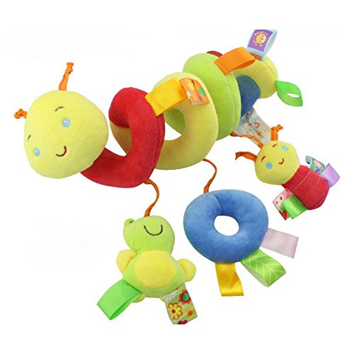 TATEELY Newborn Baby Stroller Toys Lovely Dot Worm Model Baby Bed Hanging Toys Educational Baby Soft Rattle Toys Worm