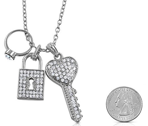 Silver Tone Designer Inspired Crystal Key, Padlock, Engagement Ring Charms Necklace for Teens and Women