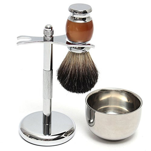 Vivona Hardware & Accessories Shaver Kit Pure Badger Wet Shaving Brush with Mug Bowl and Stand Shave Razor Set