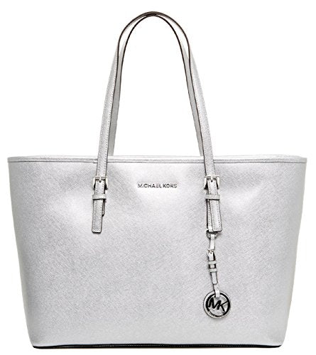 934cc8c64421 MICHAEL KORS Jet Set Travel Medium Saffiano Leather Top-Zip Tote (Silver)