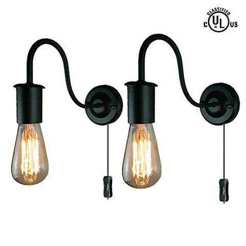 Industrial Wall Sconces Wall Lamp Gooseneck Sconces wall Lighting E26 Base Vintage Edison Retro Wall Mount Light Plug-In Button Switch Cord Lighting 2-Pack