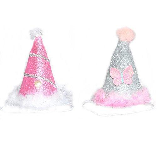 Stock Show 2Pcs Dog Cat Birthday Hat Holiday Party Headwear Costume Accessory With BlingBling Pink