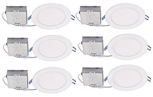 "Topaz Lighting (Pack of 6) 77234 12W Slim 6"" Dimmable Recessed Ceiling Downlight, 4000K, White, Easy to Install, Save Time and Money, Energy Efficient LED Lighting"