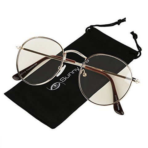 SunnyPro Non Prescription Glasses For Women and Men Circle Frame Transparent Sunglasses