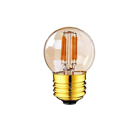 Sphoon Lighting Edison G40 LED Filament Mini Globe Light Bulb 2W E26 Candelabra LED Light Bulb 10W Replacement Equivalent Ultra Warm White 2200K Amber Glow Outdoor String Lights Non-Dimmable - 6Pack