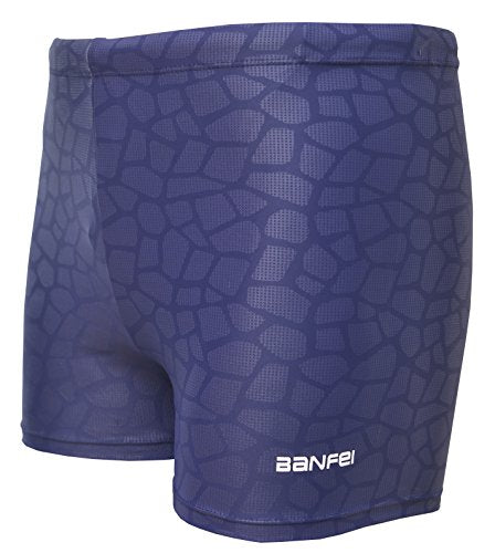 Vocni Men's Compression Quick Dry Rapid Swim Splice Square Leg Short Jammer Swimsuit