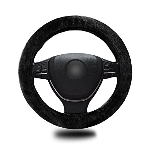 Zento Deals Stretch-On Vehicle Steering Wheel Cover Classic Black Car Wheel Protector