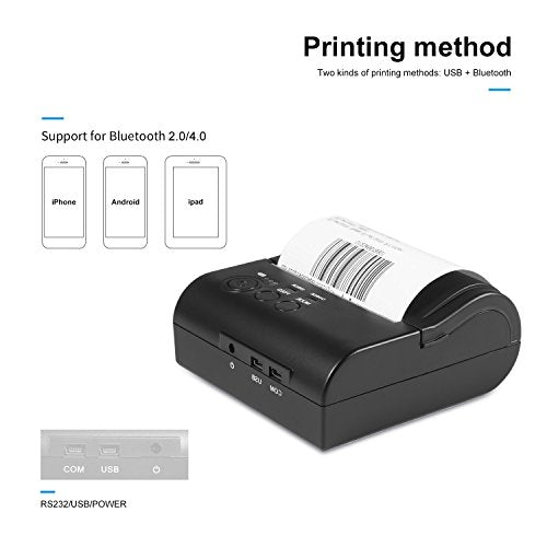 Portable Mini Wireless Bluetooth Printer, LESHP 80mm Thermal Printer  Compatible with ESC / POS Print Commands Set for IOS Android System Mobile