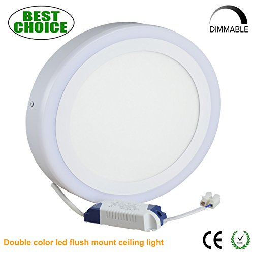 "9.64""Surface Mounted Led Ceiling Light 24W 1920LM Dimmable Round Led Panel Lights Down Lighting for Kitchen, Bar, Balcony,Bedroom"