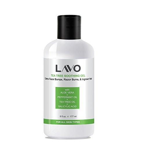 LAVO Tea Tree Gel w/ Salicylic Acid - BEST Ingrown Hair Treatment - Razor Bump and Burn Remover - Bikini Lines & Acne - Use After Shaving, Hair Removal, Waxing, Laser, Electrolysis - for Men and Women