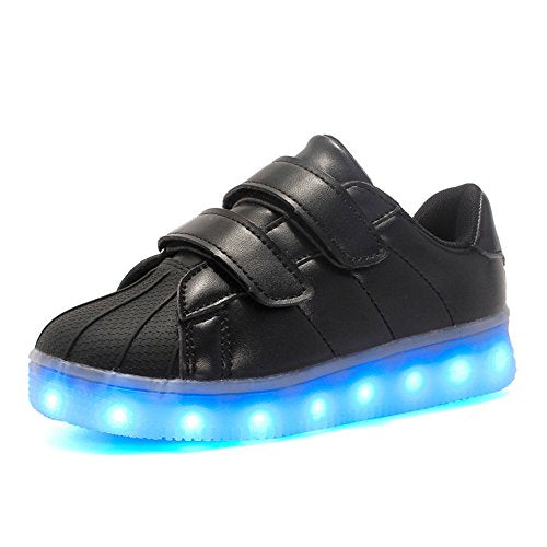 --Plan B LED Light Shoes USB Children's Shoes Boys and Girls Magic Board Shoes-(Black-13 M US Little Kid)--