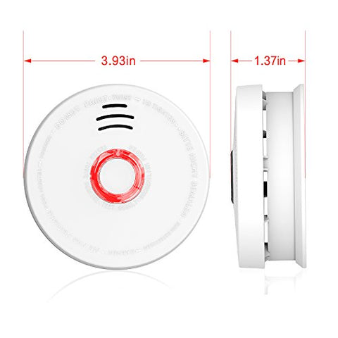 2 Pack Photoelectric Smoke Detector & Alarm, Battery-Operated(Not Hardwired) Smoke and Fire Alarm/Detector with Test Button, 10 Years Photoelectric Smoke Alarm with UL Listed(9V Battery included)