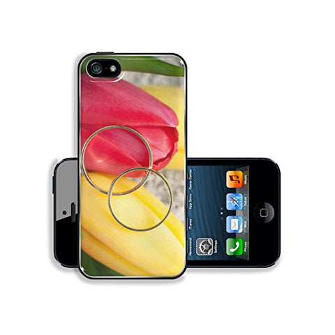 Liili Apple iPhone 5 iPhone 5S Aluminum Backplate Bumper Snap iphone5/5s Case IMAGE ID 35522976 close up of wedding rings on red and yellow tulip