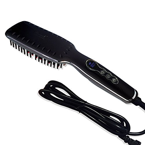 Hair Straightener Brush,Aibay Ceramic Heating Straightening Irons Brush With LCD Display Anti Static Anti-Scald Hair Massage Straightening Irons (Black)