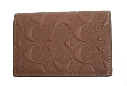 new product 980fd 07297 COACH BIFOLD CARD CASE IN SIGNATURE CROSSGRAIN LEATHER (SADDLE)