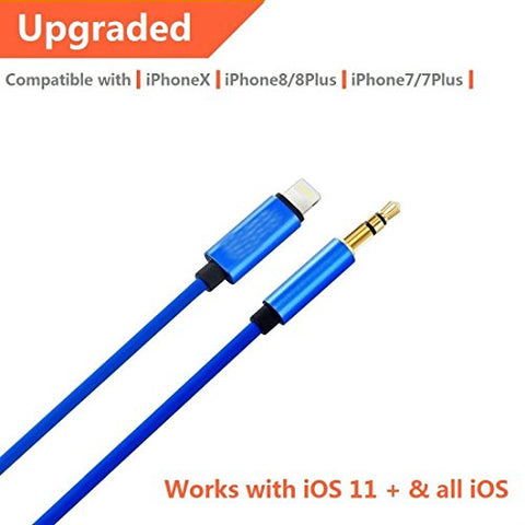 [Upgraded] ADABUNNY 3.3 Ft 1m Lightning to 3.5mm Premium Auxiliary Audio Cable Male to Male Aux Cable, iPhone 7/7P/8/8P/X or Any Lightning Port to Car Stereo Speakers or Headphone Audio Jack (blue)