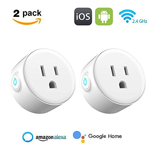 WiFi Smart Plug, niceEshop(TM) Wireless Smart Switch Socket, Works with Amazon Alexa and Google Home, Remote Control Your Appliances Anywhere, Timing Function, No Hub Required, 2 Pack