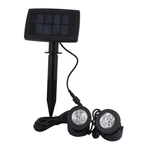 DealMux Solar Power 12 LEDs Landscape Spotlight Projection Light w 2 Submersible Lamps for Garden Pool Pond Outdoor Decoration Lighting Underwater Light