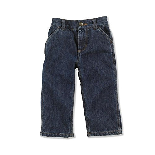 Carhartt Boys' Denim Dungaree Jeans, Worn In Blue, 18 Months