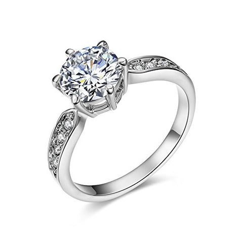 SPILOVE Serend 18k White Gold Plated 1.5ct Heart and Arrows Cut Cubic Zirconia Solitaire Wedding Engagement Rings, Size 6.5