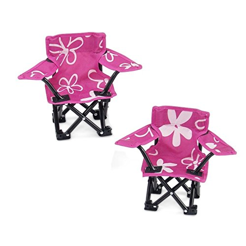 Emily Rose Doll Clothes 18 Inch Doll Accessories | Awesome Pink and White Flowered Camping Sports Chairs, includes Matching Carry / Storage Case | Fits American Girl Dolls