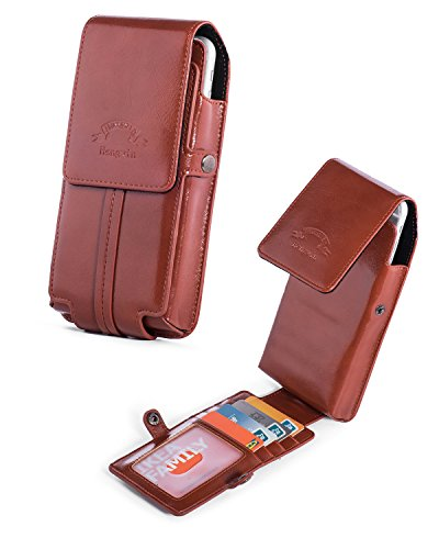 newest ed152 69336 iPhone 8 Plus Holster Belt Case Clip,Vertical Luxury Leather Phone Holster  Belt Pouch Loop Carrying Cover Case with Card Slots Wallet for Galaxy Note  ...