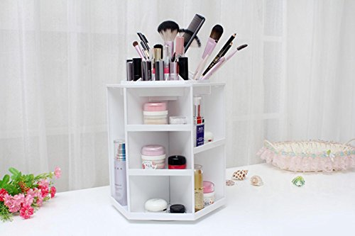 ZXLIFE@360 ° rotating cosmetic box creative cosmetics skin care products storage box desktop bathroom finishing storage box , black