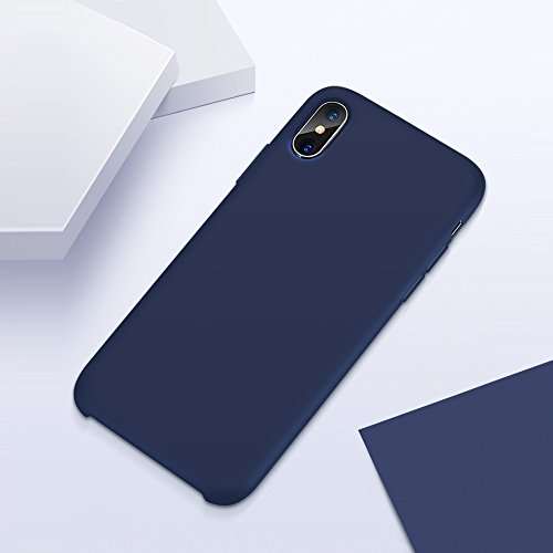 buy online f035a d22d4 iPhone X Case, DIGITWHALE iPhone X Liquid Silicone Gel Rubber Case with  Shockproof Cover Soft Microfiber Cloth Lining Cushion for Apple iPhone X ...