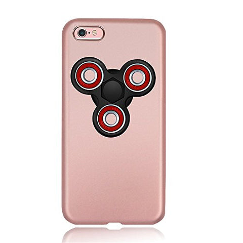 "KOSBON Hard Thin Protective Cover Cases Phone Case with Fidget Finger Spinner Protable Removeable for IPhone 7/7 Plus Iphone 6/6s/6Plus (H Pink case+Black spinner, For iPhone 6 Plus/6s Plus 5.5"")"