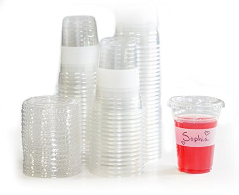 Tovla Clear Plastic 9 oz. Drinking Cups with Lids (100-Count Set) for Iced Coffee or Tea, Milk, Juice, Soda, Water | Disposable Party Drinkware, Writable Exterior | Kids