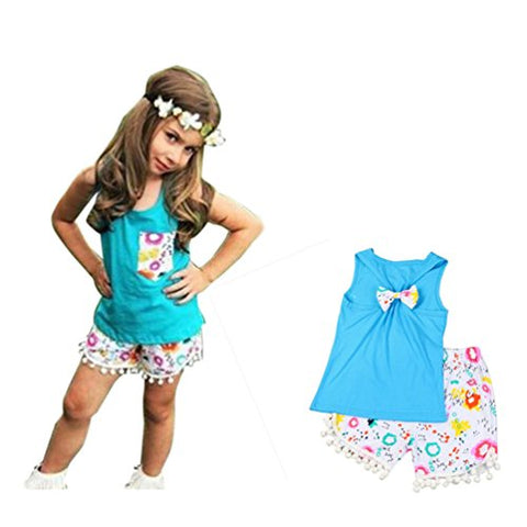 Franterd Baby Girl Lace Clothes Outfits Set Kids T-shirt Tops +Demin Shorts Pants (2T, Blue 1)