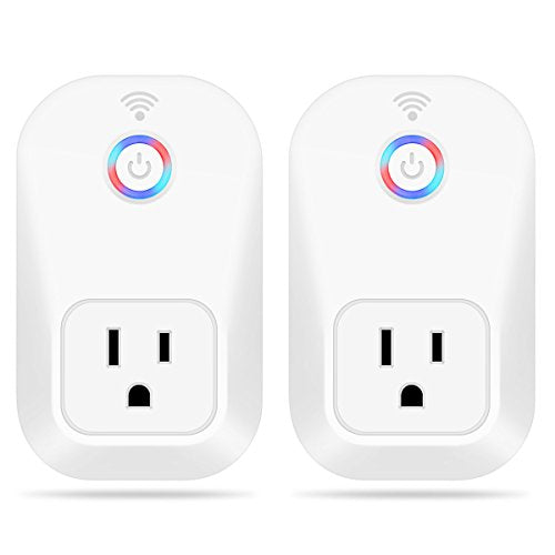 Wifi Smart Plug, M.Way smart socket Work with Alexa Echo Wireless Socket Outlet Remote Control from Anywhere,Timing Function,No Hub Required,for Light, TV, Any Household Appliances,2PC