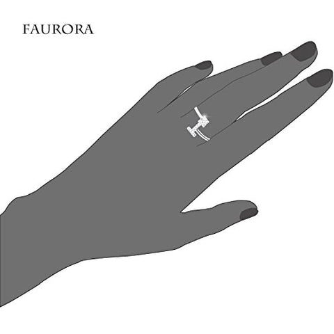 Faurora Rings for Women Initial Ring Letter Ring A-Z Adjustable Silver Rings Women Rings Size 6-11 Gift Set T