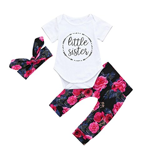 Cuekondy Infant Toddler Baby Girls Letter Little Sister Romper Jumpsuit Tops +Headband +Pants Outfit Clothes 3PC Set (White, 6M)