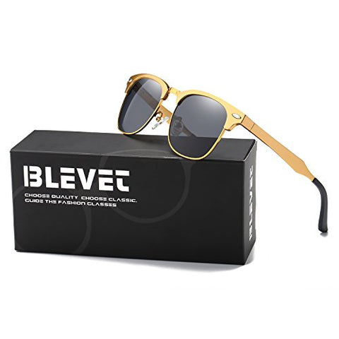 BLEVET Clubmaster Polarized Retro Sun Glasses Classic Metal Al-Mg Semi-rimless All-match Driving Sunglasses Men Women Eyewear(Gold Frame, Grey)