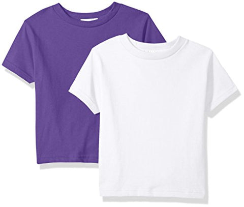 Clementine Baby Girls' Little Boys' Everyday Toddler T-Shirts Crew 2-Pack, Lavender/Plum, 2T